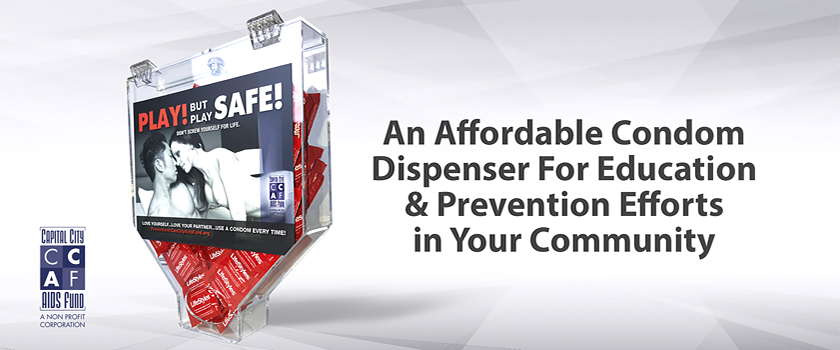 An affordable condom dispenser for education and prevention efforts in your community.
